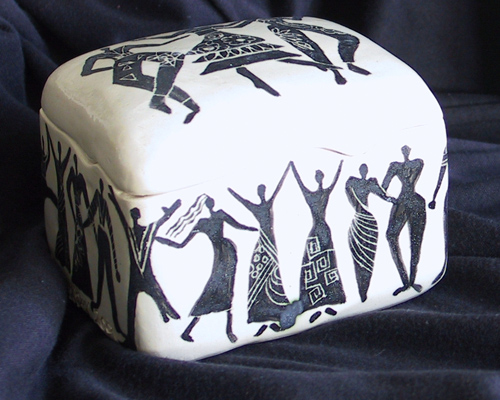 Handmade Ceramic Box with Dancers at the Heider Center Art Gallery