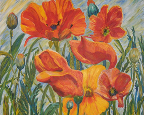 Painting of Poppies at the Heider Center Art Gallery