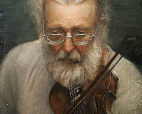 Painting of a Man and his Violin at the Heider Center Art Gallery