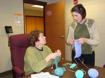 Two Women Knitting at a Community Education Class at the Heider Center
