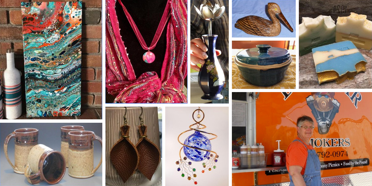Various handmade art pieces for sale at the Mayfair Art Fair held annually at the Heider Center in West Salem, WI